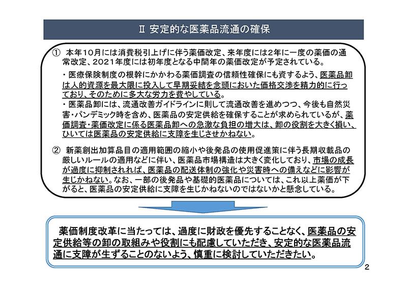 02_薬価制度改革に関する意見(卸連)20190724薬価専門部会